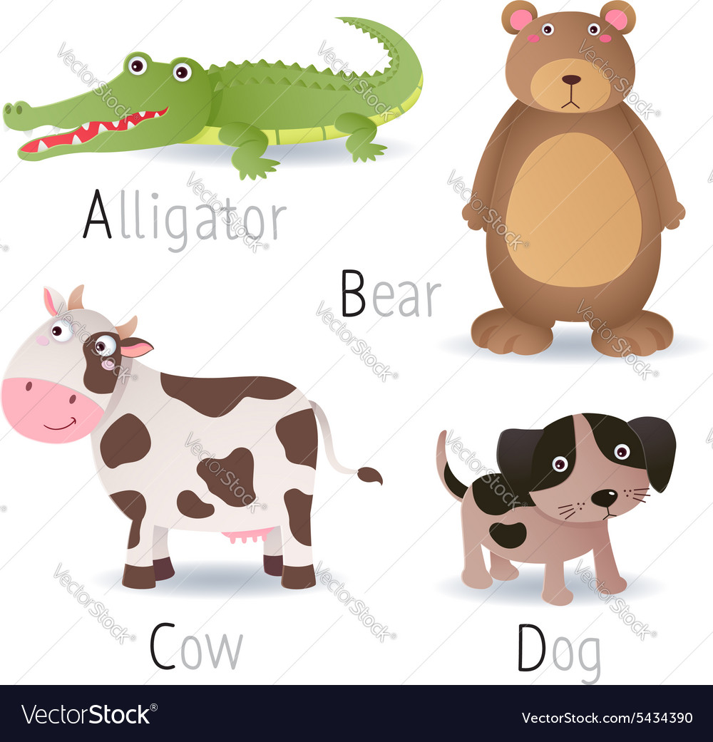Alphabet with animals from a to d set 2 vector