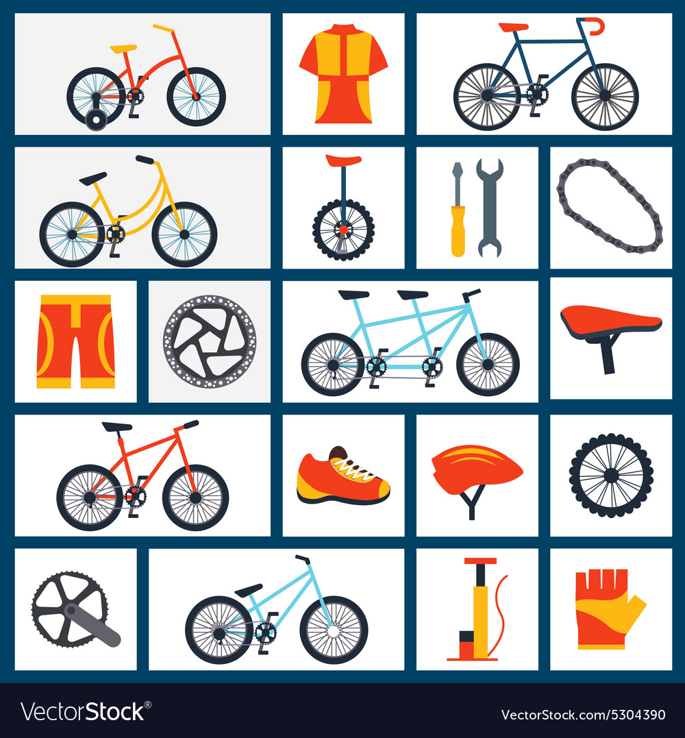 Bicycle accessories flat icons set vector