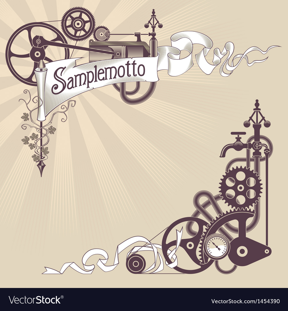 Steampunk banner design vector