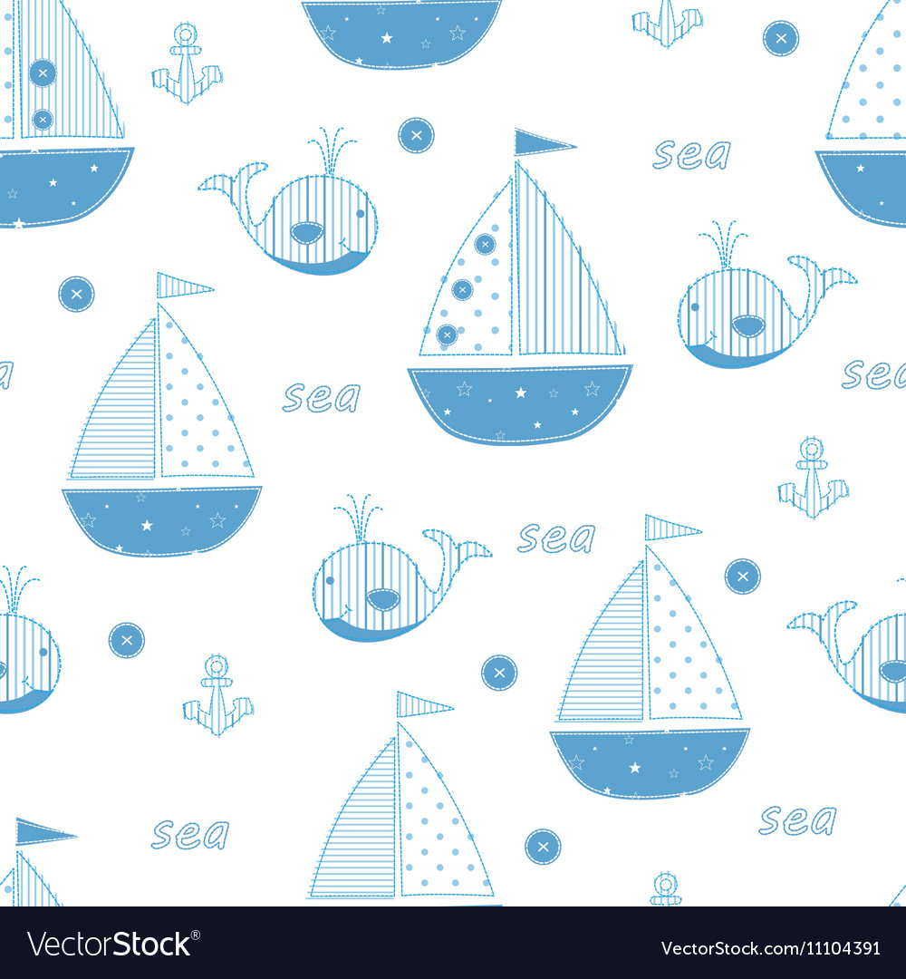 Seamless pattern with abstract cute sailships vector