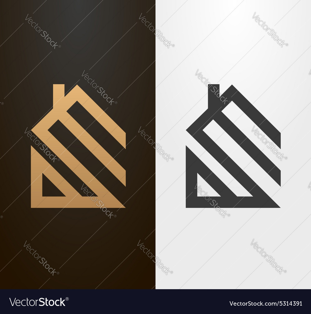 Simple line house logo icon vector
