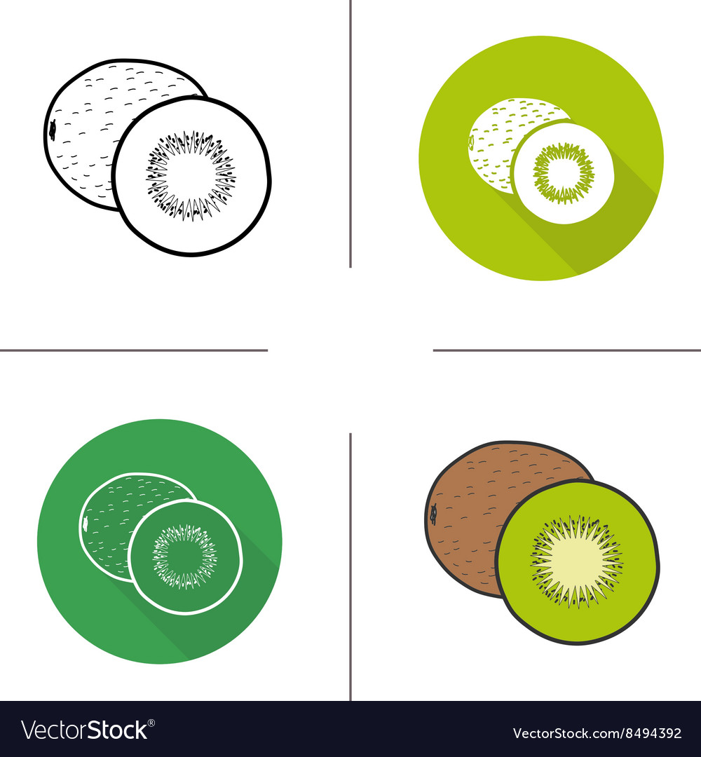 Kiwifruit flat design linear and color icons set vector