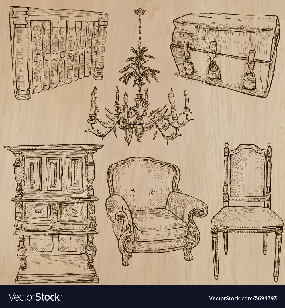 Furniture  sketches line art vector