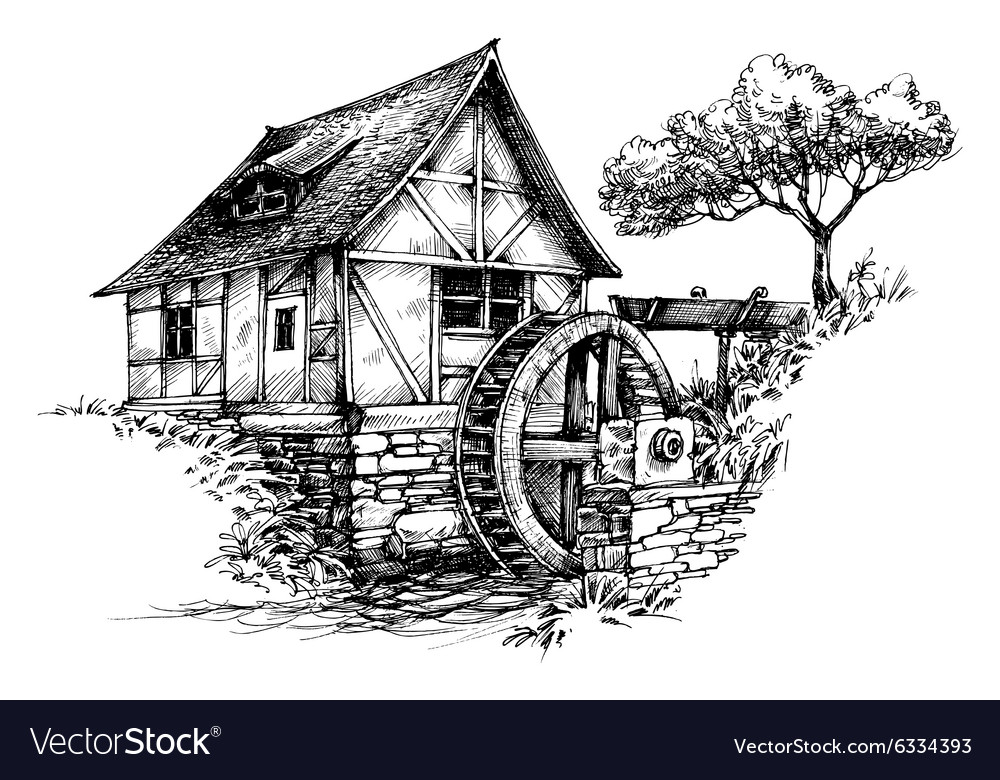 Old water mill sketch vector