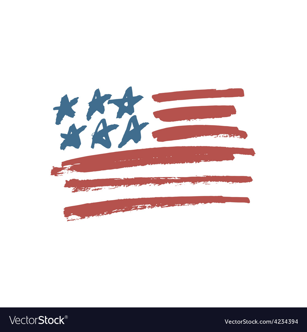 American flag brush vector