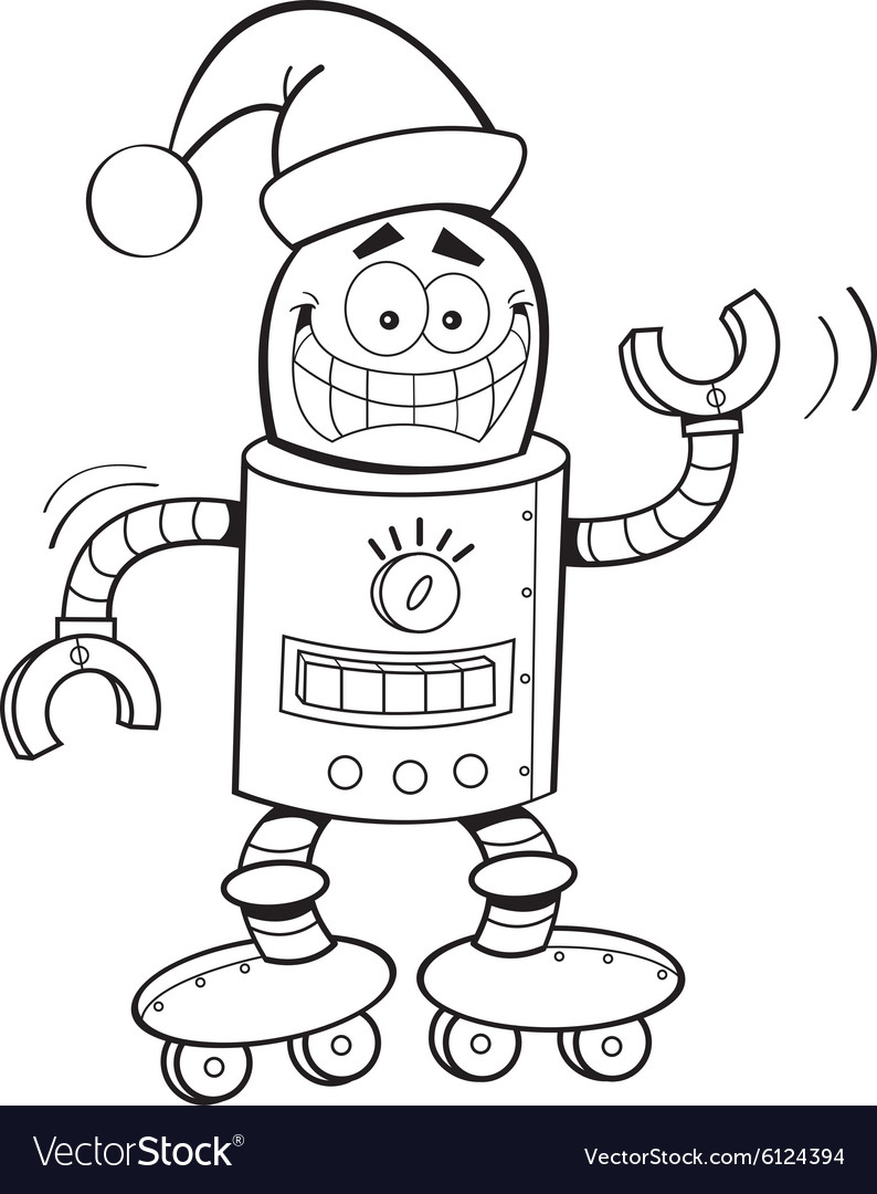 Cartoon robot wearing a santa hat vector