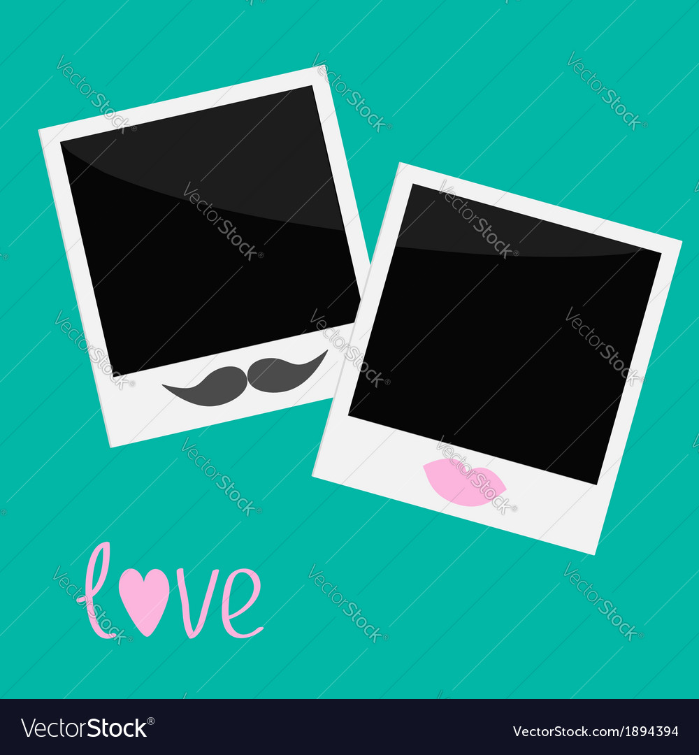 Two instant photos with lips and moustache vector