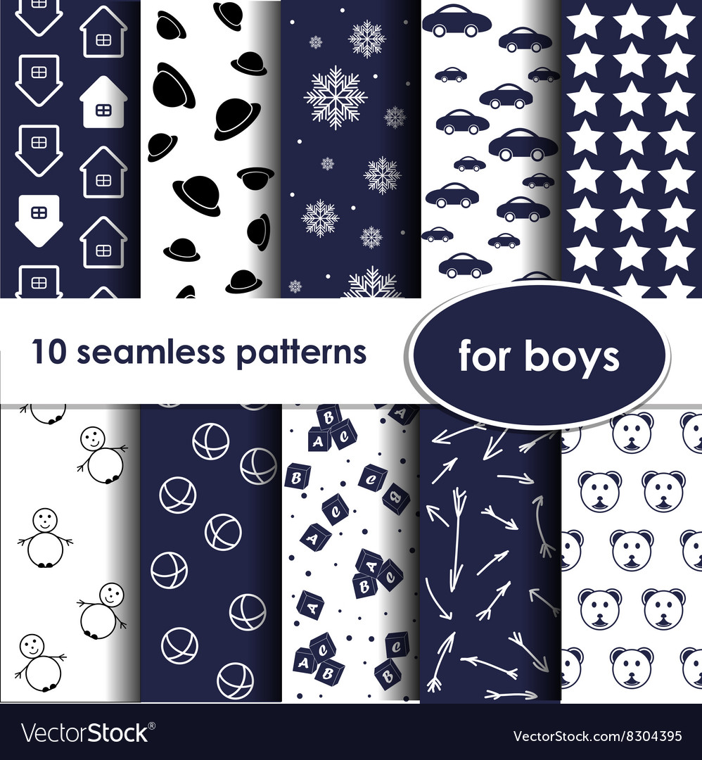 Set of 10 blue seamless patterns for boys vector