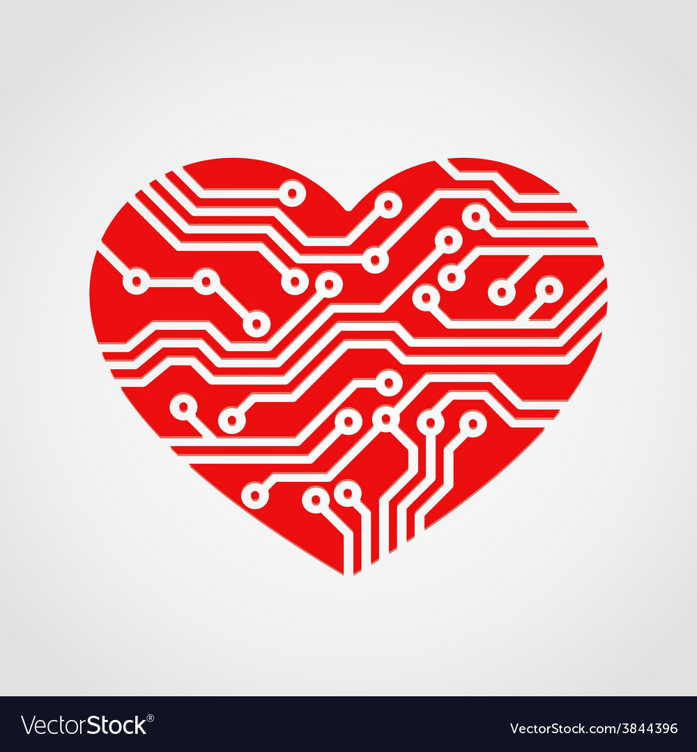 Digital heart vector