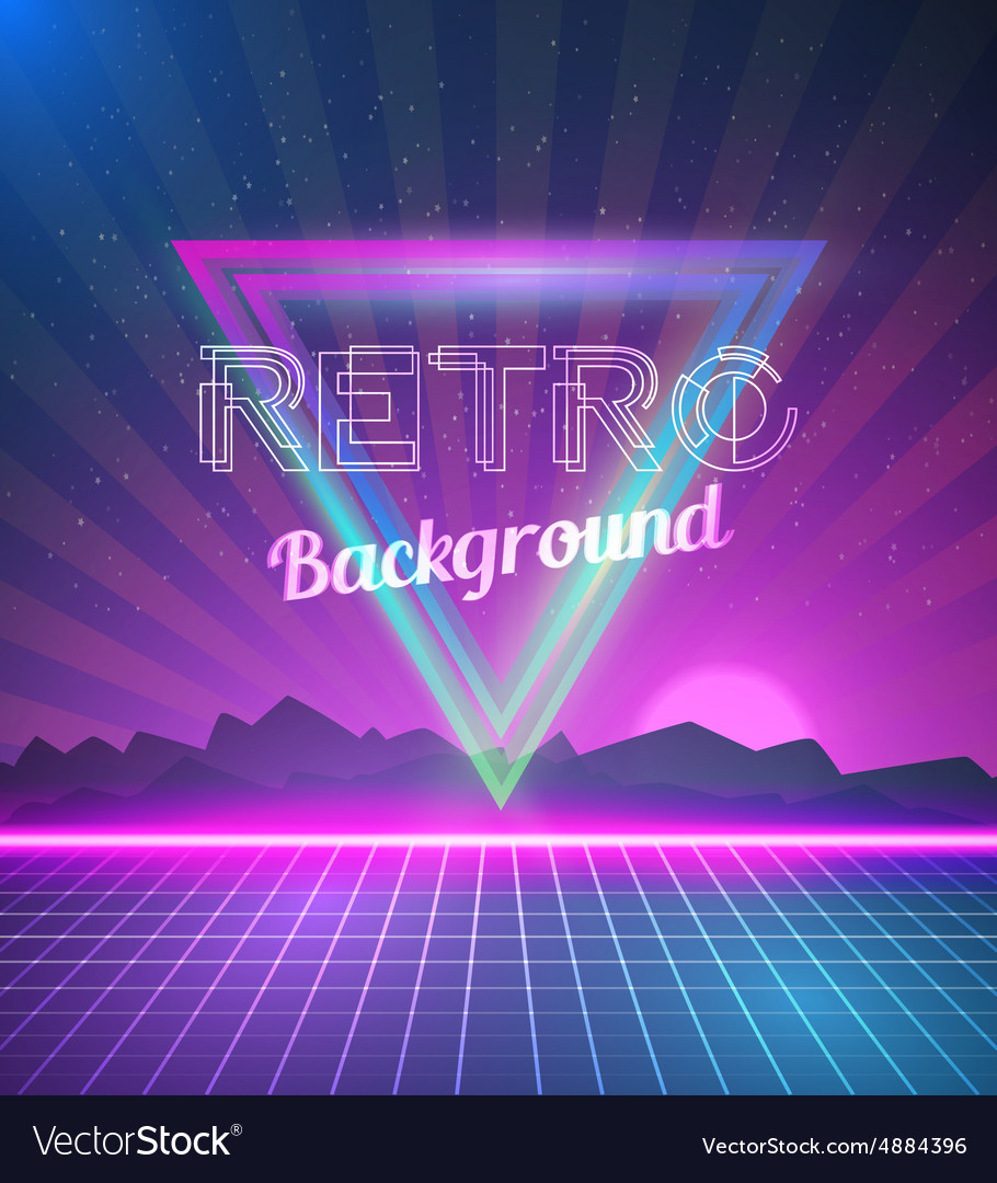 Retro disco 80s neon poster made in tron style vector