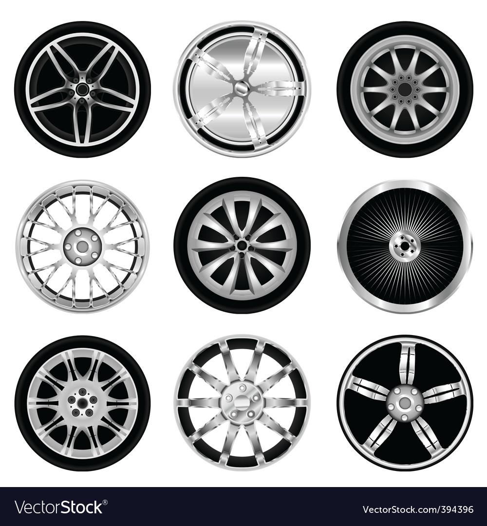 Sporty aluminum wheel vector