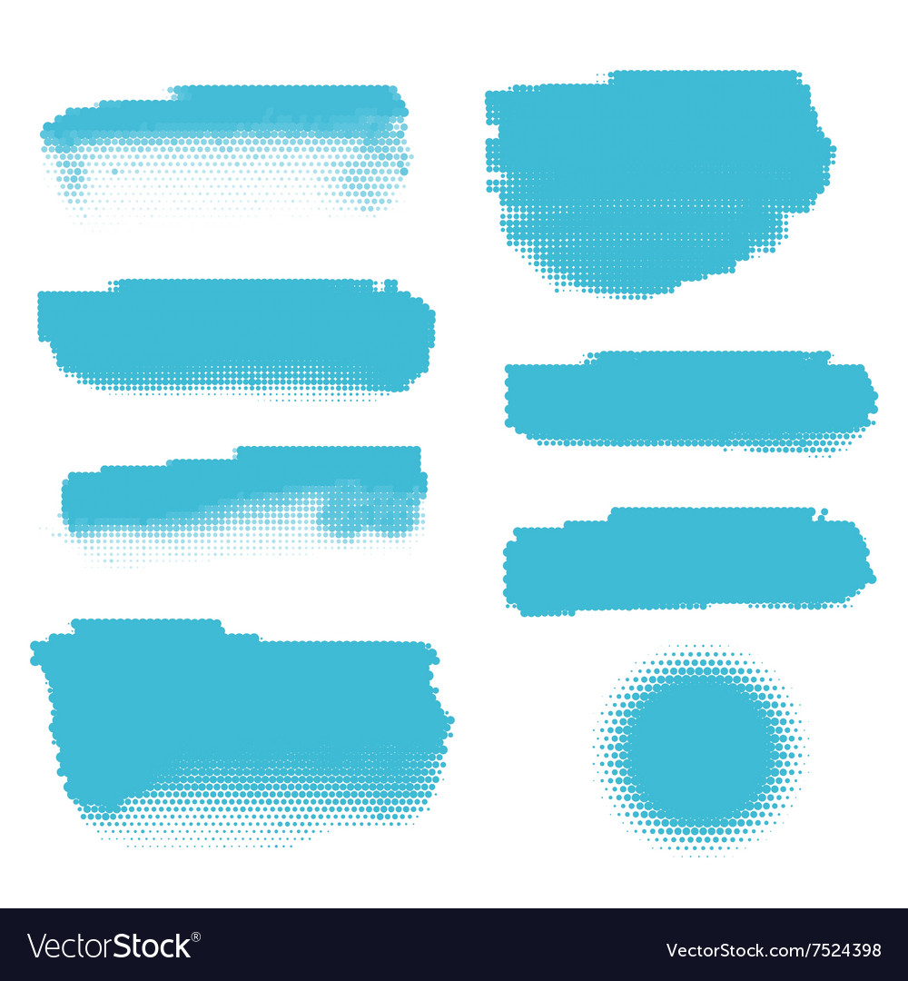 Blue halftone banners vector