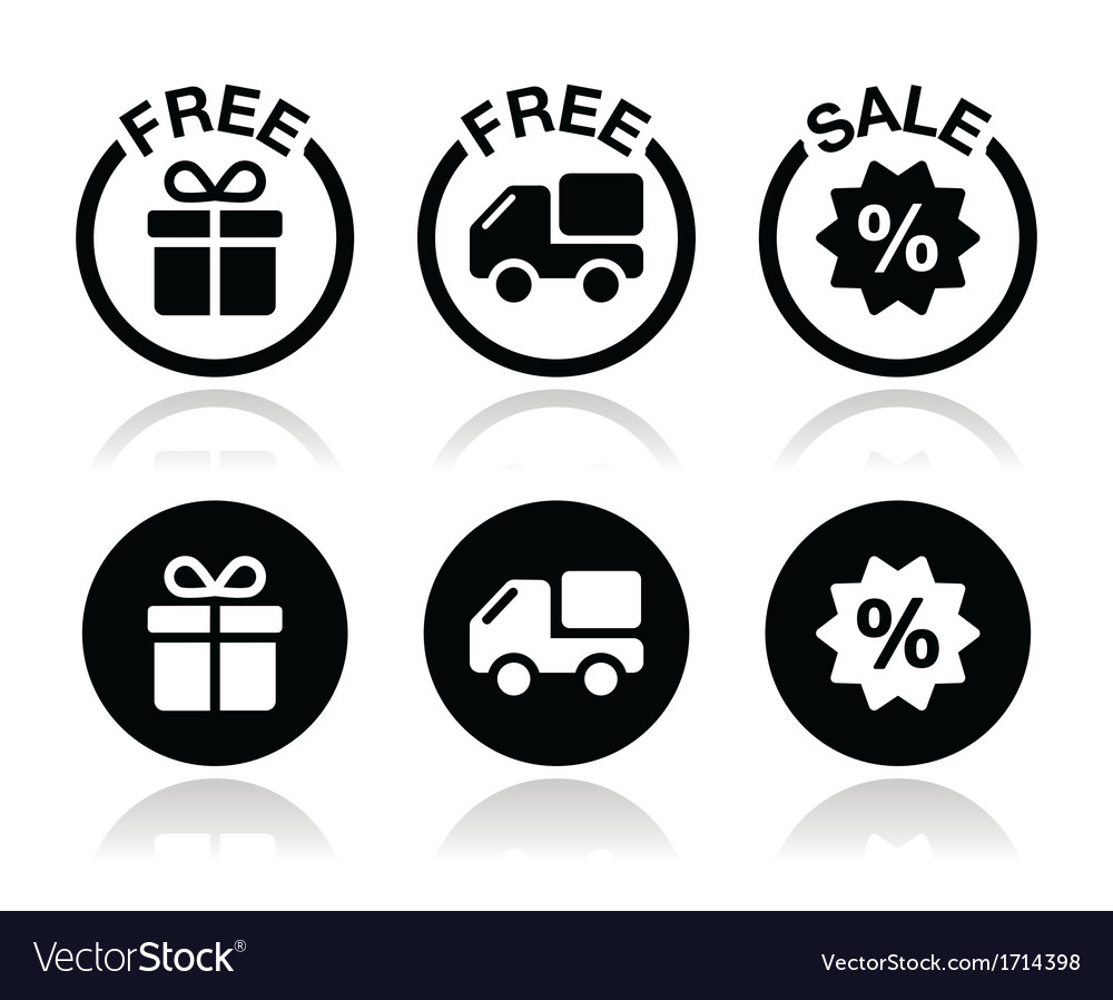 Free gift free delivery sale icons set vector