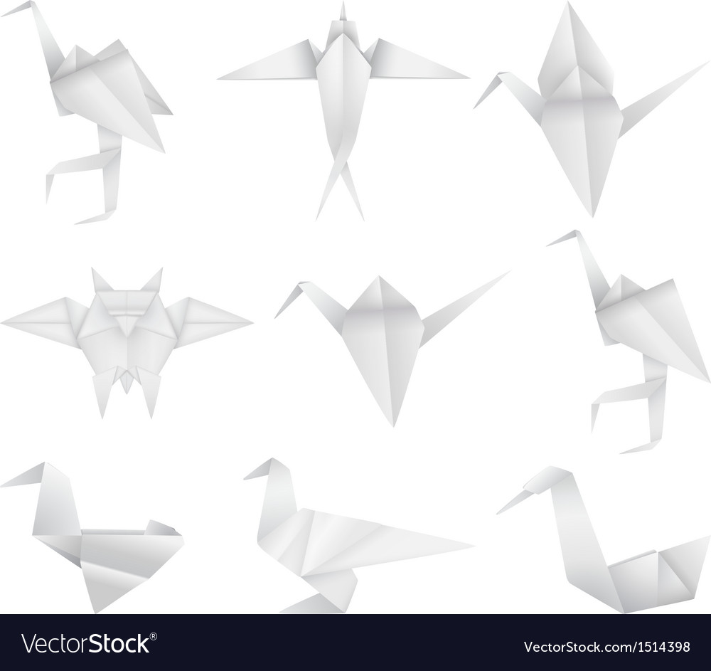 Origami birds set vector