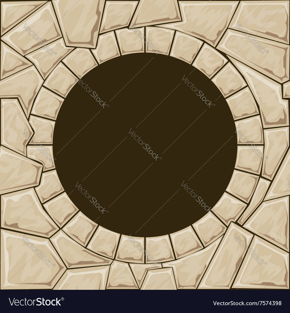 Round stone frame vector