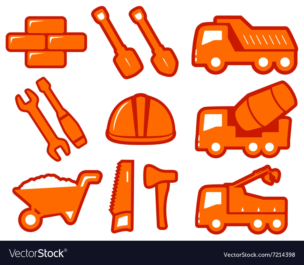 Set construction icons vector