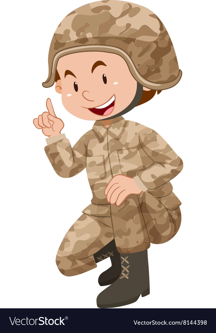 Soldier in brown uniform vector