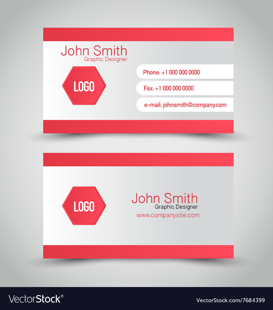 Business card set template red and silver grey vector