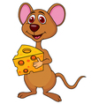 Cute mouse cartoon holding cheese vector image vector image