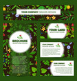 corporate identity with wild flowers pattern vector image