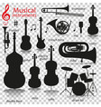 music instruments silhouette icons with vector image
