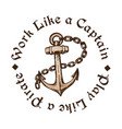 Hand drawn anchor with chain engraving style vector image