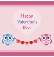 Happy Valentines Day Lettering Card with Owls vector image