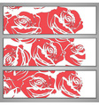banners with red roses vector image vector image