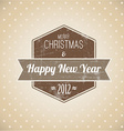 Brown vintage retro Christmas label vector image