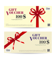 Gift Voucher Brown Red ribbon vector image