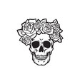 human skull with roses black and white vector image
