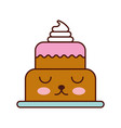 kawaii sweet baked cake birthday cream delicious vector image