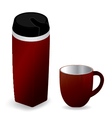 Red thermos bottle with red cup isolated on white vector image