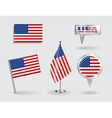 Set of American pin icon and map pointer flags vector image