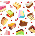 slices of cake seamless pattern isolate on vector image