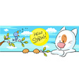 spring banner with singig bird and cat and flower vector image