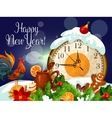 Happy New Year poster with clock vector image