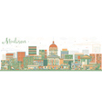 Abstract Madison Skyline with Color Buildings vector image vector image