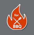 bbq icon sticker with grill tools vector image