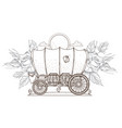 contour image of covered wagon and roses outline vector image
