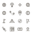 geolocation navigation black thin line icon set vector image