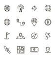 geolocation navigation black thin line icon set vector image