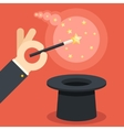 Magician hand holding magic wand over cylinder hat vector image