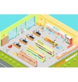 Supermarket Departments Interior 3d Isometric Shop vector image