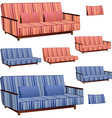 Sofa pink and blue stripped vector image vector image