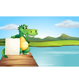 An alligator holding an empty board at the wooden vector image
