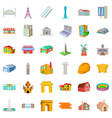city architecture icons set cartoon style vector image