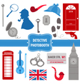 Detective Sherlock Party set - photobooth props vector image