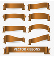 bronze various curved empty ribbon banners eps10 vector image