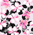 Tropical hibiscus flowers with black leaves vector image
